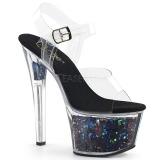 Black 18 cm SKY-308GF glitter platform sandals shoes