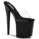 Black 20 cm Pleaser FLAMINGO-801SDG Glitter Platform High Mules