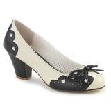 Black 6,5 cm retro vintage WIGGLE-17 Pinup Pumps Shoes with Cuben Heels
