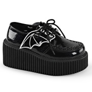 Black 7,5 cm CREEPER-205 platform creepers women - rockabilly shoes with bat wings