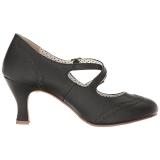 Black 7,5 cm FLAPPER-35 Pinup Pumps Shoes with Low Heels