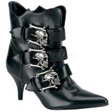 Black 7 cm DEMONIA FURY-06 Womens Ankle High Goth Boots