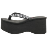Black 9 cm FUNN-17 Goth Platform Sandals Womens