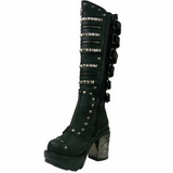Black 9 cm SINISTER-301 womens buckle boots with platform
