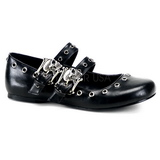 Black DAISY-03 gothic mary jane ballerina shoes flat heels