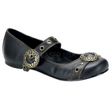 Black DAISY-09 gothic mary jane ballerina shoes flat heels