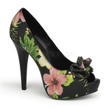 Black Floral 13 cm LOLITA-11 Womens Shoes with High Heels