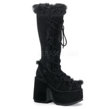 Black Fur 13 cm CAMEL-311 Platform Knee High Goth Boots