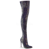 Black Glitter 13 cm COURTLY-3015 Pleaser Overknee Boots