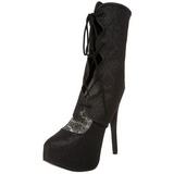 Black Glitter 14,5 cm Burlesque TEEZE-31G Platform Pumps Shoes