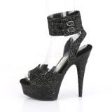 Black Glitter 15 cm DELIGHT-691LG pleaser high heels with ankle straps