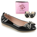 Black IVY-09 ballerinas flat womens shoes with pearls