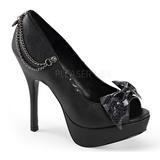 Black Leatherette 13,5 cm PIXIE-16 Goth Pumps Shoes