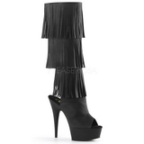 Black Leatherette 15 cm DELIGHT-2019-3 womens fringe boots high heels