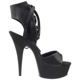 Black Leatherette 15 cm DELIGHT-600-14 platform pleaser sandals