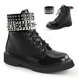 Black Leatherette 3,0 cm RIVAL-106 punk ankle boots