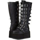 Black Leatherette 9 cm DAMNED-318 womens buckle boots with platform