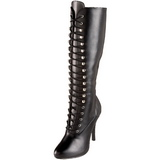 Black Matte 12 cm ARENA-2020 High Heeled Lace Up Boots