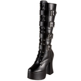 Black Matte 12 cm SLUSH-225 Platform Knee High Goth Boots
