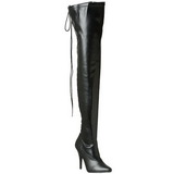 Black Matte 13 cm SEDUCE-3063 Overknee Boots Flat Heels