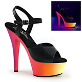 Black Matte 15,5 cm RAINBOW-209UV High Heeled Sandal Neon Platform
