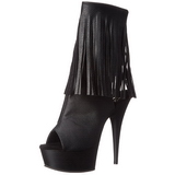 Black Matte 15 cm DELIGHT-1019 womens fringe ankle boots high heels