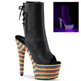 Black Matte 18 cm ADORE-1018RBS Neon Platform Ankle Calf Boots