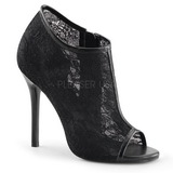 Black Mesh 13 cm AMUSE-56 High Heeled Evening Pumps Shoes