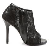 Black Mesh 13 cm AMUSE-56 High Heeled Evening Pumps Shoes