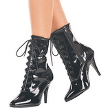 Black Patent 10,5 cm VANITY-1020 Flat Ankle Calf Boots Women