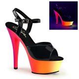 Black Patent 15,5 cm RAINBOW-209UV High Heeled Sandal Neon Platform