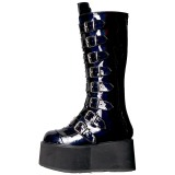 Black Patent 9 cm DAMNED-318 womens buckle boots with platform