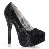 Black Rhinestone 14,5 cm TEEZE-06R Platform Pumps Women Shoes