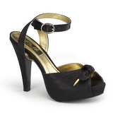 Black Satin 12 cm PINUP COUTURE retro vintage BETTIE-04 High Heels Platform