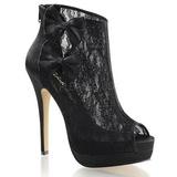 Black Satin 13,5 cm BELLA-28 Peep Toe Platform Ankle Calf Boots