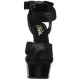 Black Satin 15 cm DELIGHT-668 High Heeled Evening Sandals