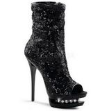 Black Sequins 15,5 cm BLONDIE-R-1008 Platform Ankle Calf Boots