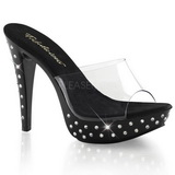 Black Transparent 14 cm COCKTAIL-501SDT Mules Strass Heels