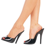 Black Varnish 15 cm DOMINA-101 Women Mules Shoes