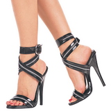Black Varnish 15 cm DOMINA-119 Womens High Heels Sandals