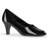 Black Varnished 8 cm DIVINE-420W Women Pumps Shoes Flat Heels