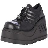 Black Vegan 12 cm STOMP-08 lolita ankle boots wedge platform