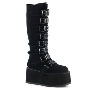 Black Velvet 9 cm DAMNED-318 womens buckle boots with platform