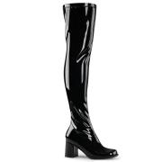 Black boots vinyl 7,5 cm - 70s years style hippie disco gogo overknee boots