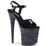 Black glitter 20 cm Pleaser FLAMINGO-809LG Pole dancing high heels shoes