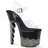 Black rhinestones 18 cm SCALLOP-708-2RS Pole dancing high heels shoes