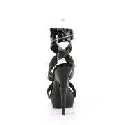 Black sandals platform 15 cm SULTRY-619 patent high heels sandals