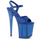 Blue 20 cm FLAMINGO-809T Acrylic platform high heels shoes