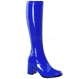 Blue Patent 8,5 cm Funtasma GOGO-300 Women Knee Boots