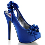 Blue Satin 14,5 cm TEEZE-56 Platform High Heeled Sandal Shoes